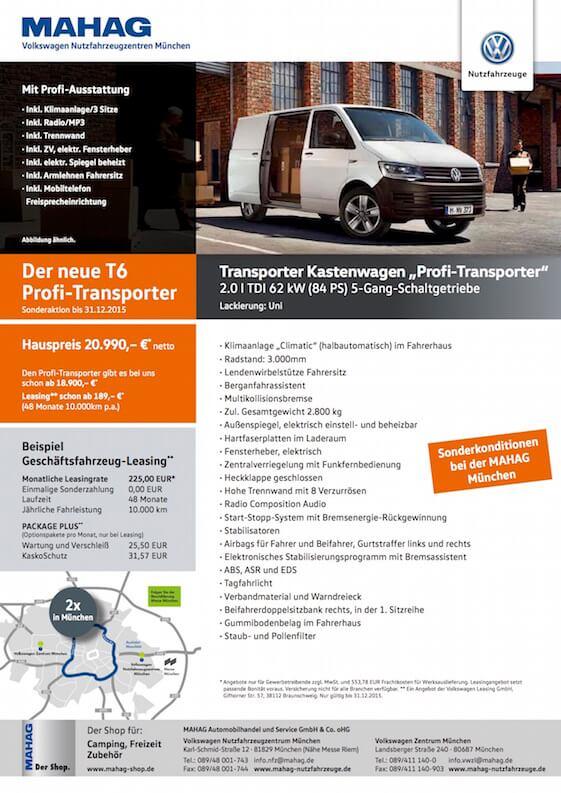 Sonderaktion Geschäftsfahrzeug-Leasing Volkswagen Transporter