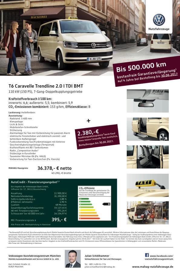 Angebotsblatt Volkswagen Caddy und Caravelle