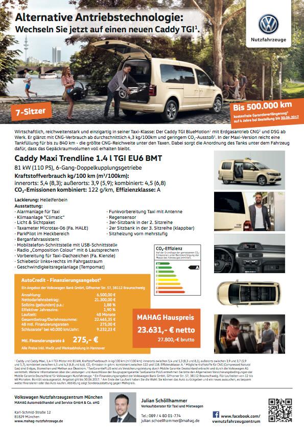 Angebotsblatt Volkswagen Taxi Caddy