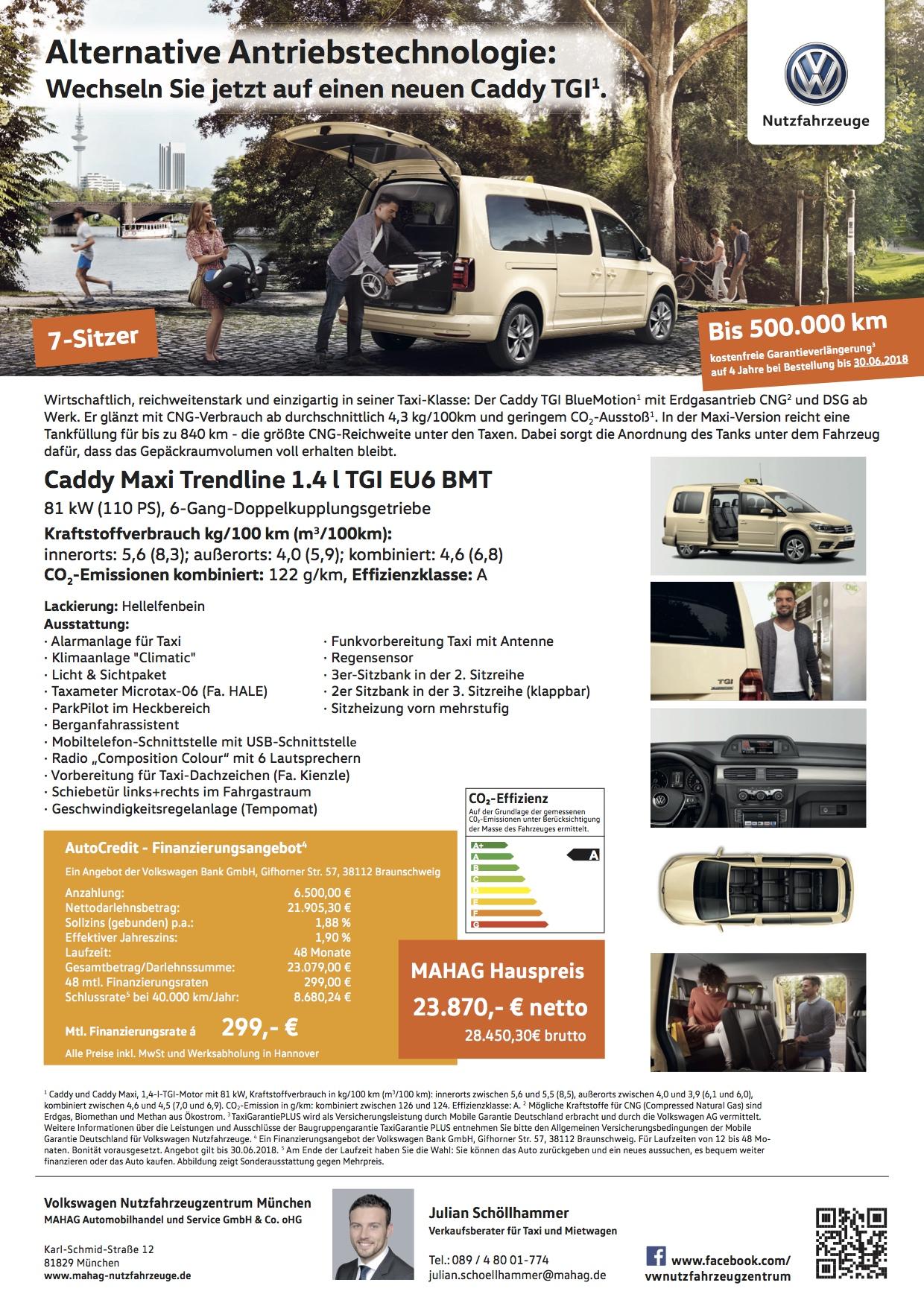 Volkswagen München Caddy Taxi Angebot