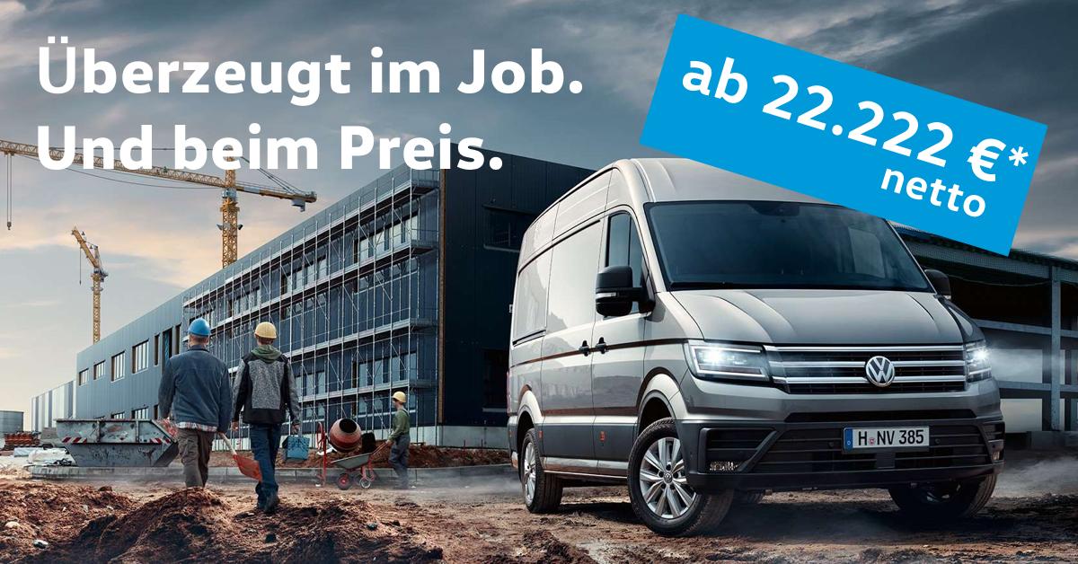 Volkswagen Crafter Silber auf Baustelle